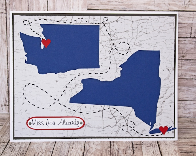Custom State Shape, Jumbo Sized Card, Miss You Card, Going Away Greeting, Custom A4 Card, Personalized Card, Moving, Relocation, Transfer