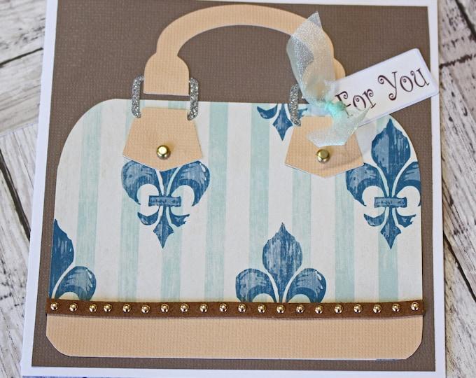 Any Occasion, Fleur-de-lis Greeting Card, Mother's Day, Friend Birthday, Anniversary Gift, Luxury Handbag, Sweet 16 Teen, High End Fashion
