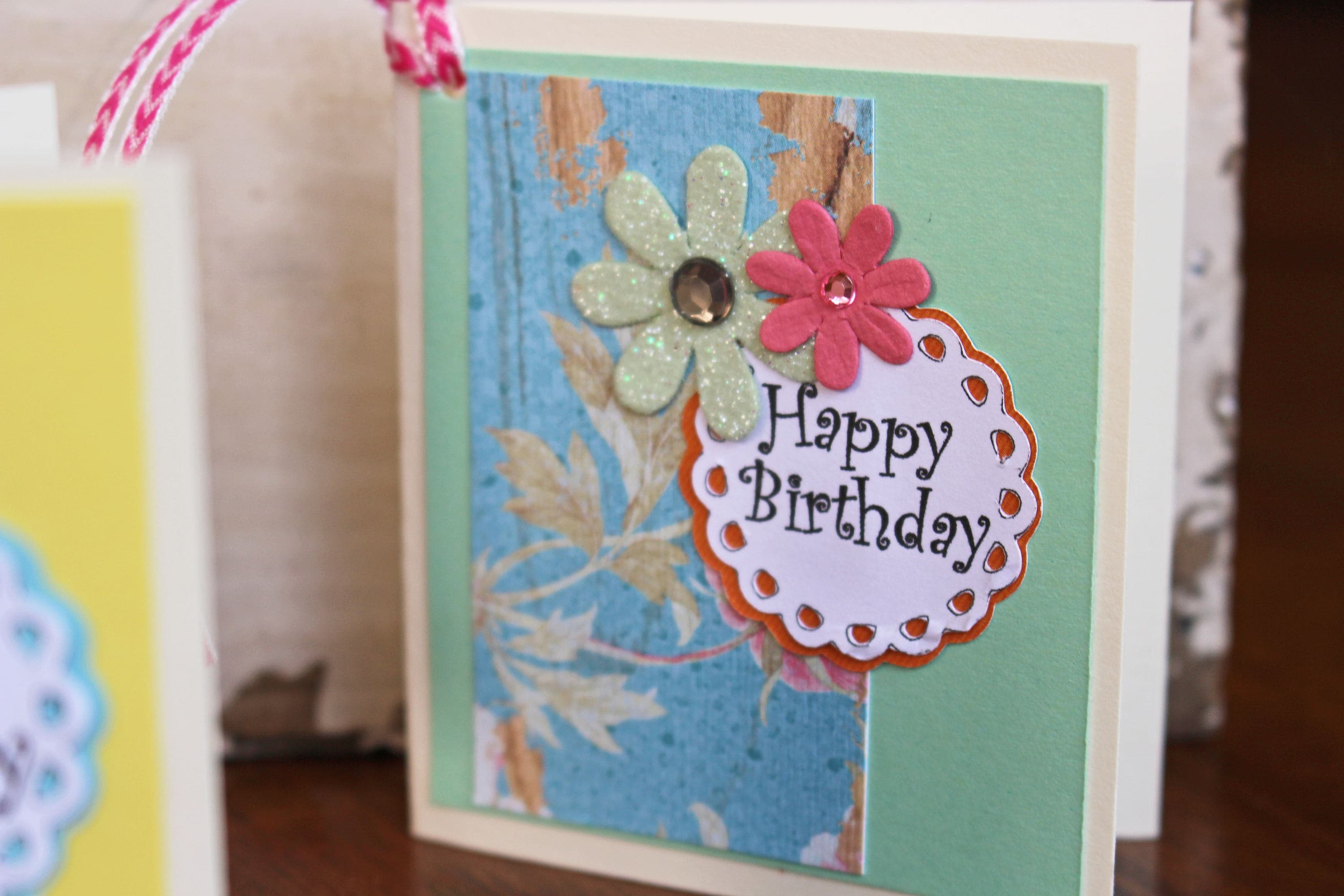 Set Of 4 Birthday Gift Tags Handmade Floral