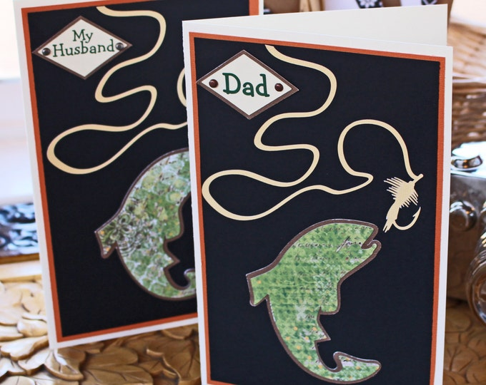 Personalized Fishing Card, Fly Fishing Card, Birthday Card, Father's Day Card, Fishing Card, Gone Fishing, Trout Fishing Card, Handmade Card