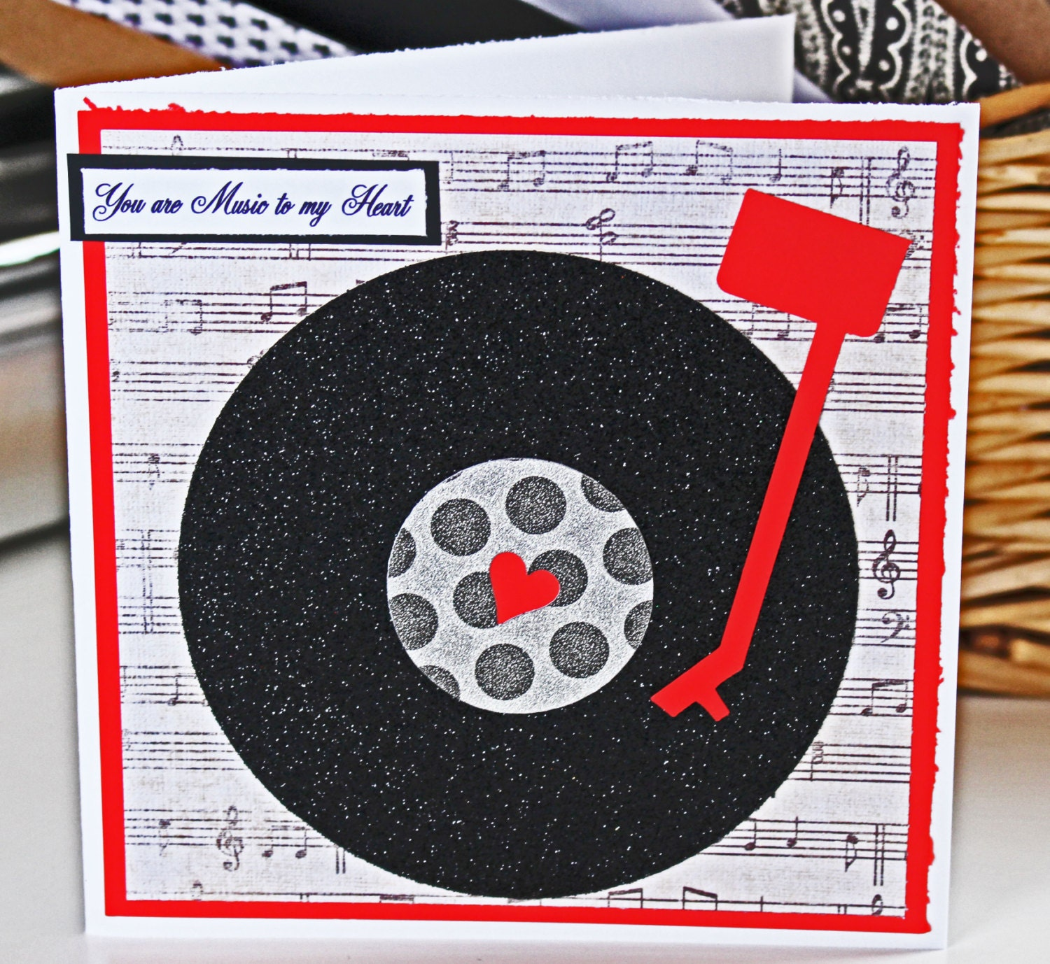 Music to My Heart Vinyl Record Valentine Card - Music, Note