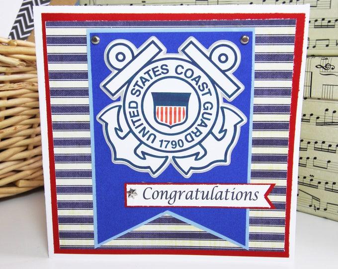 Coast Guard Card, Handmade Card, Coast Guard Retirement, Coast Guard Promotion, Coast Guard Graduation, Coast Guard Congratulations, Congrat