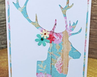 Rustic Flower Deer Head Card, Custom Greeting, Handmade Card, Floral Stag Head, Birthday Gift, Mother's Day, Female Hunter, Country Girl