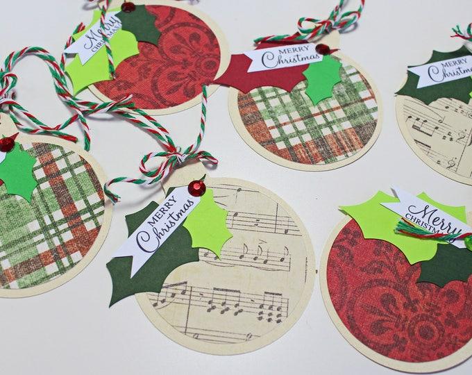 Set of 6, Ornament Gift Tags, Christmas Gift Tags, Handmade Gift Tags, Ornament, Christmas, Holiday, Gift Tags, Hang Tag, Christmas Ornament