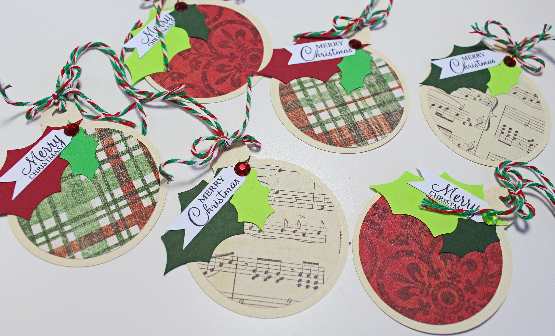 set of 6 ornament gift tags christmas gift tags handmade gift tags ornament christmas holiday gift tags hang tag christmas ornament - Christmas Tags Handmade