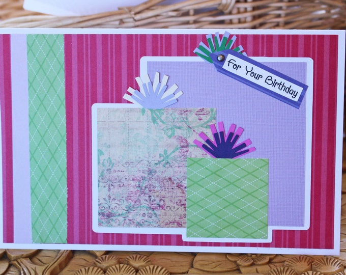 Handmade Birthday Card, Birthday Card for Her, Layered Gifts Presents, Colorful Birthday Card, Pink Purple Green, Handmade Bows, Anyone Bday