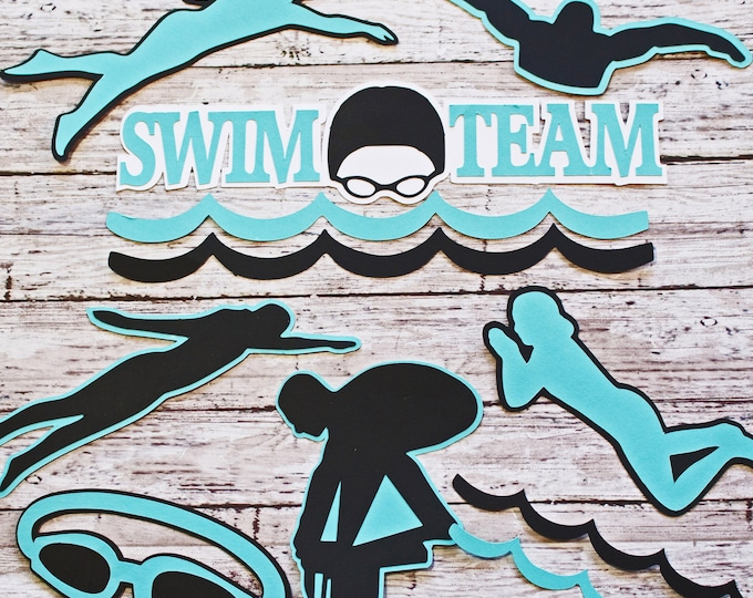 Any Color, Swim Team Die Cut Set, Set of 7, Scrapbooking, High School, Water Sports, Team Color, Handmade Diecuts, Swimmer Memory Book Page