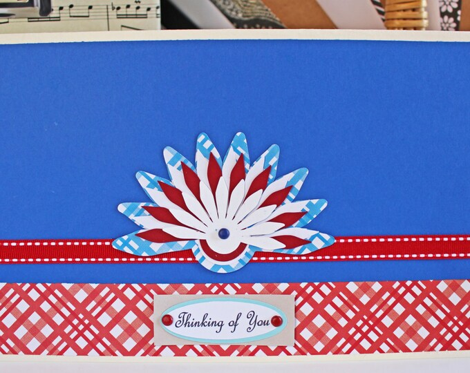 Pick Front Message, Handmade Greeting, Patriotic Colors, Happy Birthday, Mother's Day, Thank You, Flower Pedals, Peacock Feather, Red & Blue