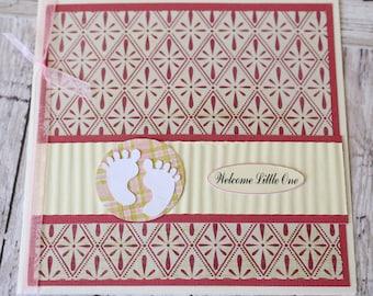 Pink Baby Feet Card, Baby Shower Card, New Baby Girl, Little Baby Feet, Handmade Greeting, Pink Nursery Theme, Newborn Arrival, Retro Design
