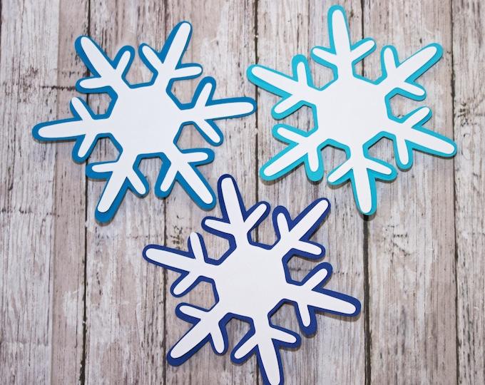 Set of 3, Snowflake Die Cut, Layered Die Cut, Christmas Scrapbook, Holiday Embellishment, Christmas, Die Cut, Holiday, Scrapbook, Snowflake