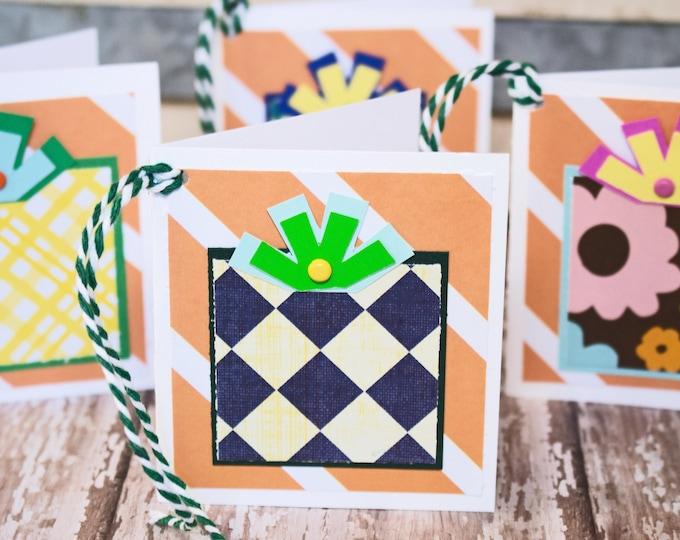 Set of 4, Birthday Gift Tags, Handmade Gift Tags, Colorful Present Tags, Gift Tags, Presents, Tags, Birthday, Birthday Gift, Hang Gift Tags