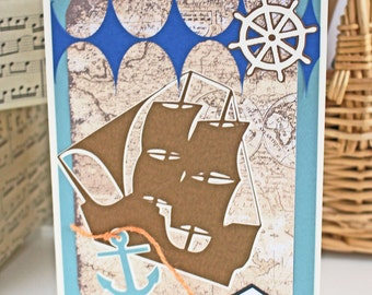 Customize Front Message, Handmade Nautical Card, Father's Day, Birthday, Pirate Ship, Vintage Maritime, Antique Sail Boat, Merchant Sailor