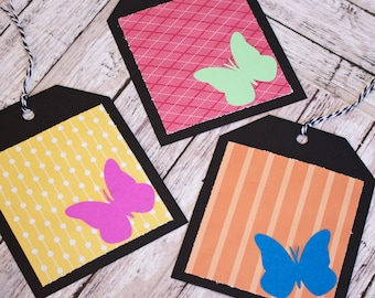 Set of 3, Large or Small, Butterfly Gift Tag Set, Butterfly Tags, Handmade Note Tag, Gift Tags, Gift Card, Gift Wrap, Monarch, Butterflies
