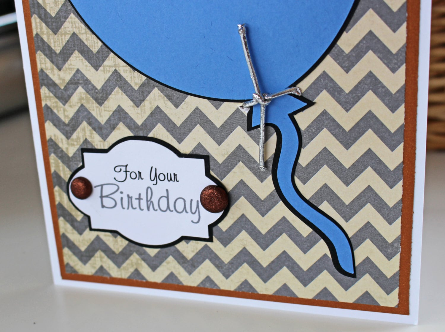 Balloon Birthday Card For Him Personalized Blue Chevron Mens Male Teen Boy