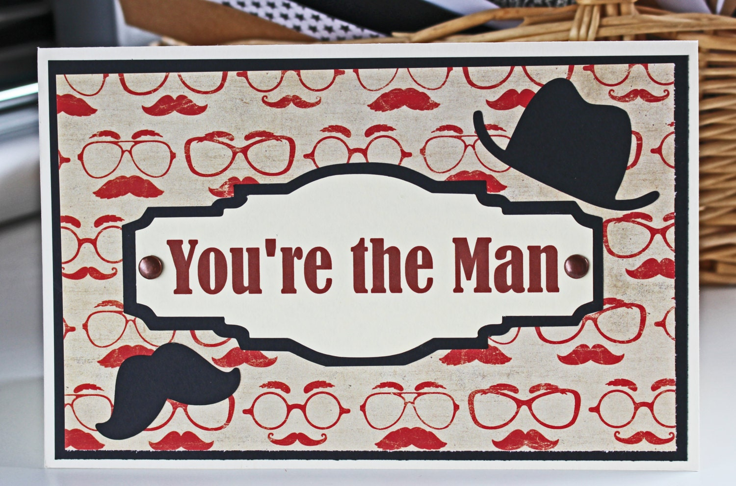 Youre The Man Mustache Card Fathers Day Card Birthday Card