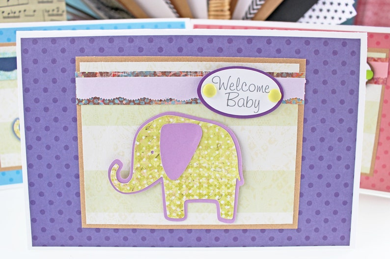 Welcome Baby Baby Elephant Handmade Card Baby Shower New image 0