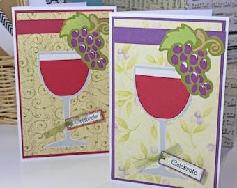 Handmade Wine Glass Card, Red Wine Birthday Card, Special Celebration, Glass of Red Wine, Classy Birthday Greeting, Vineyard Theme Party