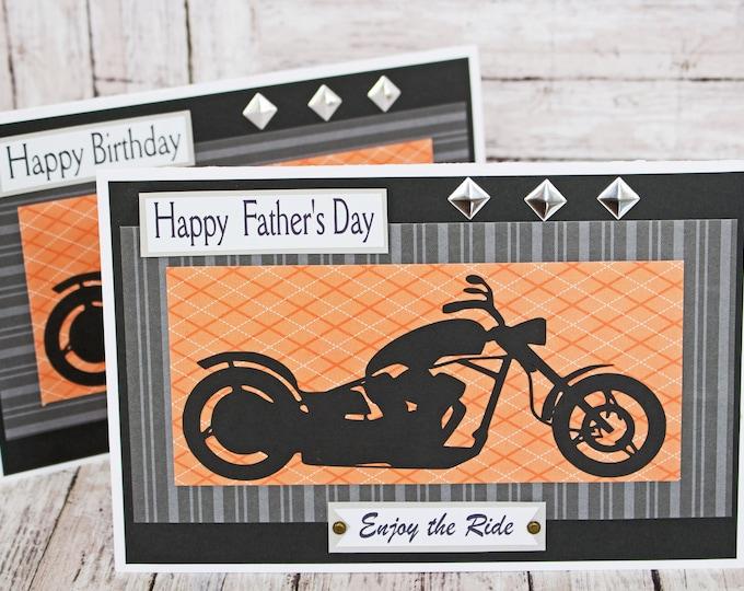 Custom, Enjoy the Ride Card, Motorcycle Card, Father's Day Card, Birthday Card, Harley, Motorcycle, Biker, Chopper, Handmade Card, Davidson