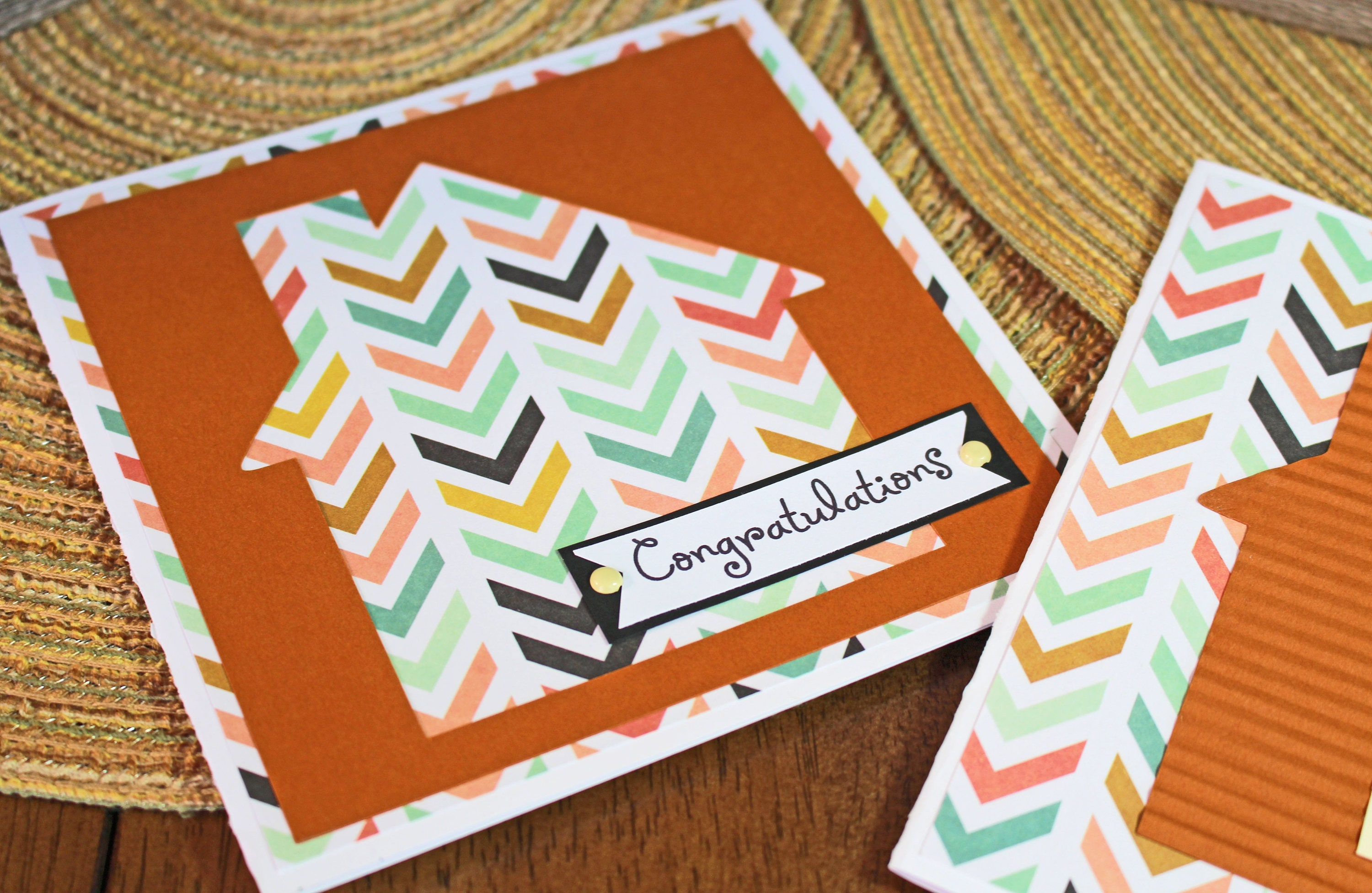Modern House Warming Handmade Card Retro House Chevron Print