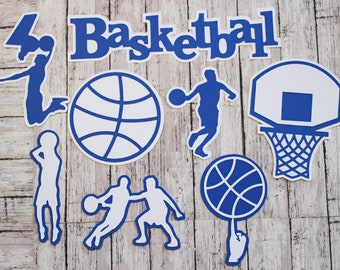 Any 2 Colors, Boys Basketball Die Cut Set, Mens Basketball, Scrapbooking Embellishments, Sports Team Color, Handmade Diecuts, BB Party Decor