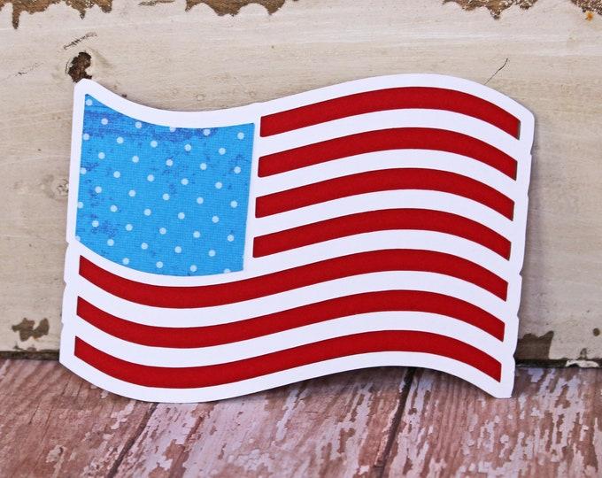 American Flag Die Cut, US Flag Die Cut, 4th of July Die Cut, Flag, USA, Patriotic, Die Cut, Fourth of July, Scrapbook, Handmade, Americana
