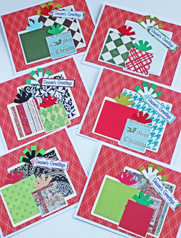 Set of 6, Christmas Present Cards, Holiday Present Cards, Christmas ...
