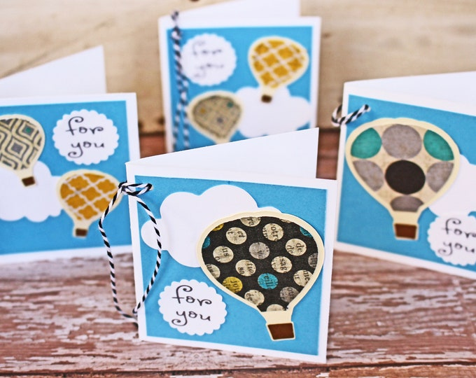Set of 4, Hot Air Balloon Gift Tags, Handmade Gift Tags, Present Hang Tags, Gift Tags, Favor Tags, Hot Air, Balloon Tags, Birthday Gift Wrap