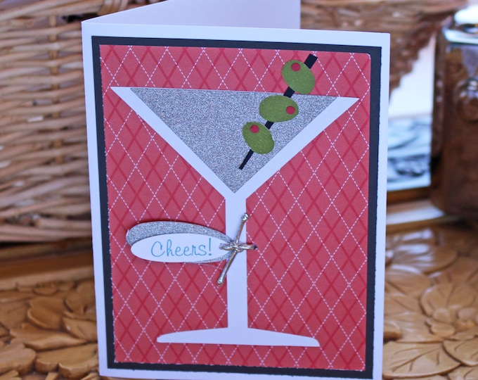Martini, Glass, Celebration, Birthday, Card, Handmade, Olives, Cocktail, 21st, 40th, Any Year, Promotion, Graduation, Retirement, Holiday,