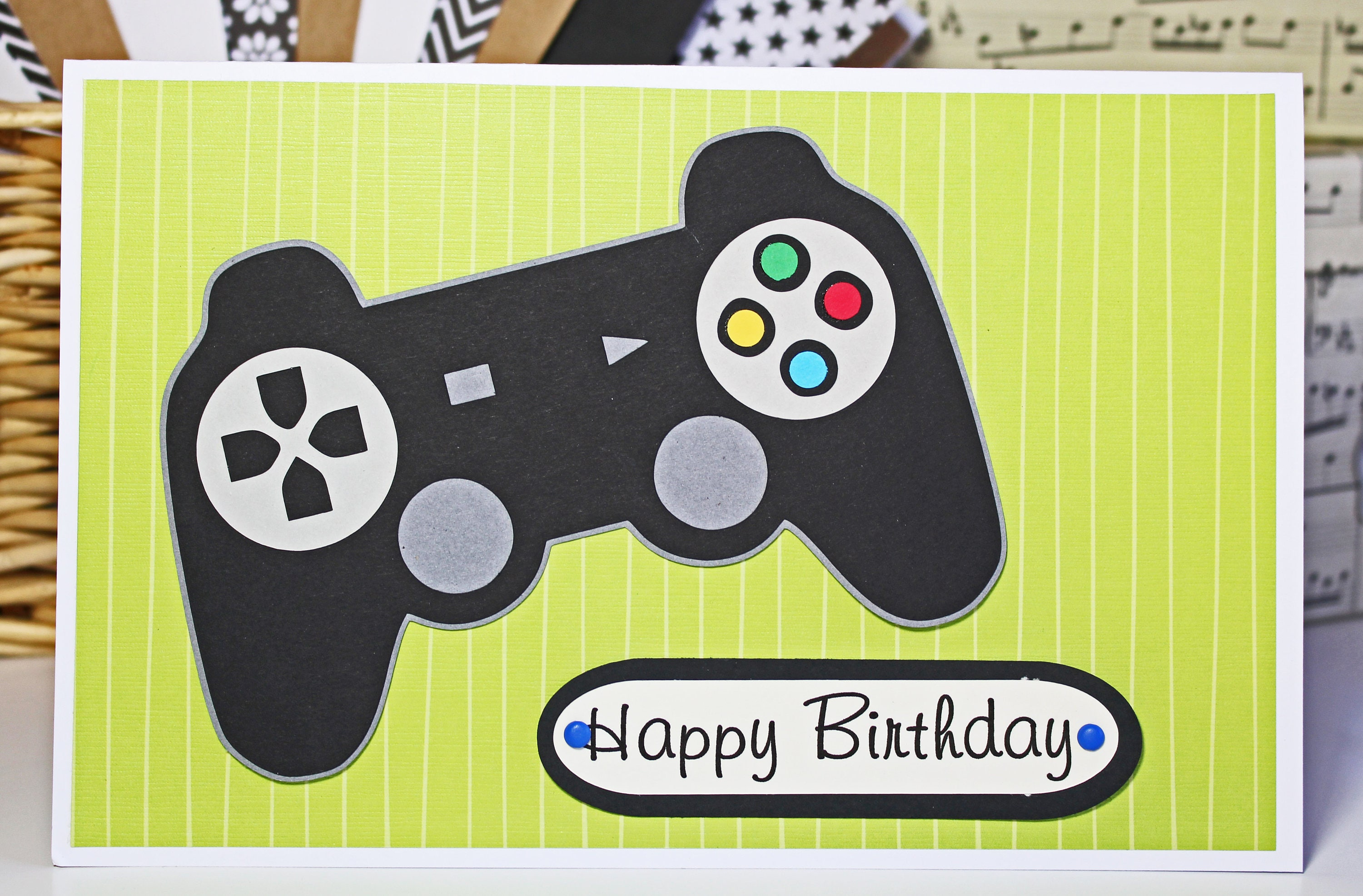 Game Controller Card Handmade Birthday For Teenagers Tween Video Custom Greeting Gamer Kid