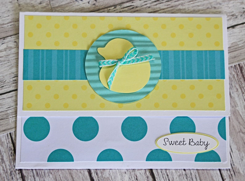 Gender Neutral Shower Gift Duckling Baby Card Baby Duck Gift Card Holder Money Card Yellow Rubber Ducky Polka Dot Baby Theme Rub a Dub