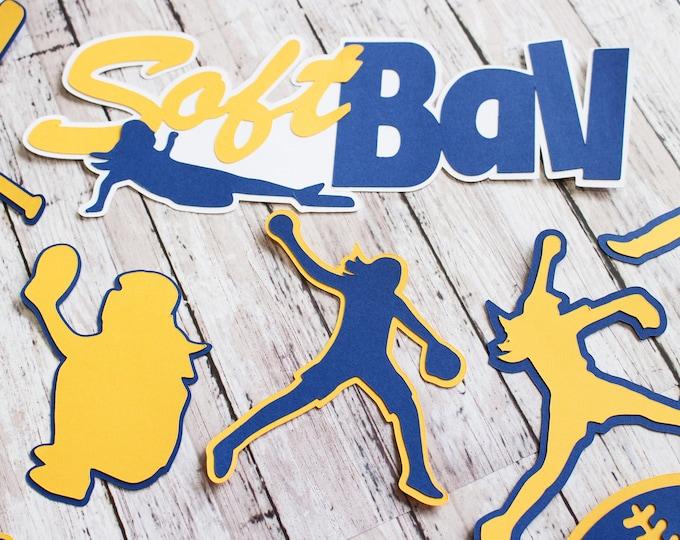 Any Color, Girls Softball, Die Cut Set, Female, Scrapbooking Design, High School, Soft Baseball, Team Color, Handmade Diecuts, Party Decor