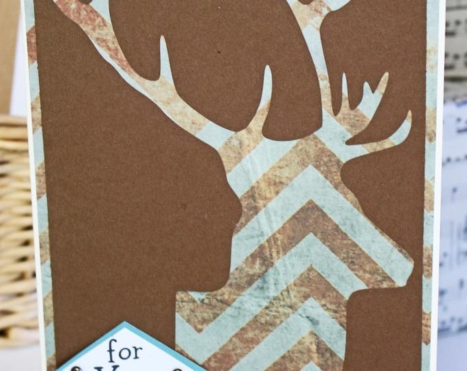 Custom, Deer Head Card, Elk Head Card, Father's Day Card, Birthday Card, Hunting Card, Handmade Card, Big Game, Antler, Buck Head, Trophy