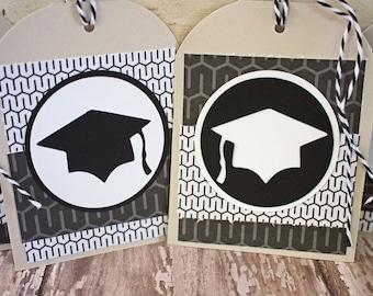 Set of 4, Graduation Tags, Handmade Gift Tags, Graduation Cap Tags, Gift Tags, Graduation Cap, Tags, Graduation, Party Favor Tag, Hang Tags
