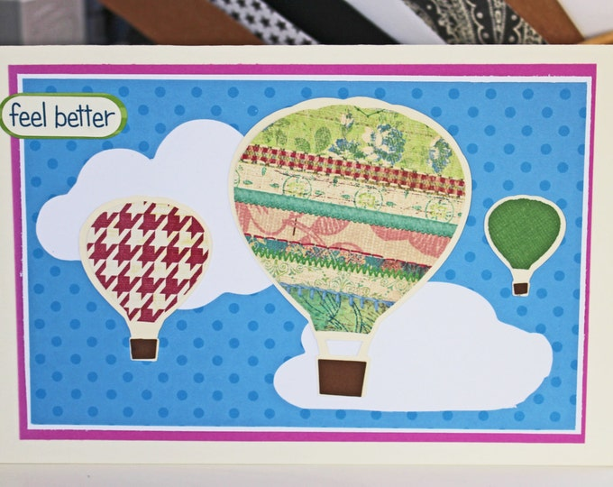 Hot Air Balloon Feel Better Card (Chose from 4 Colors) - Male or Female, Get Well Cards, Encouragement, Rehabilitation, Recovery, Healing