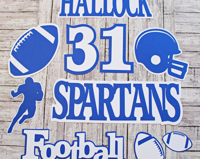 Any Color, Football Die Cut Set, Custom Set of 8, Team Color Theme, Player Name, Jersey Number, High School, College Sports, Locker Sign