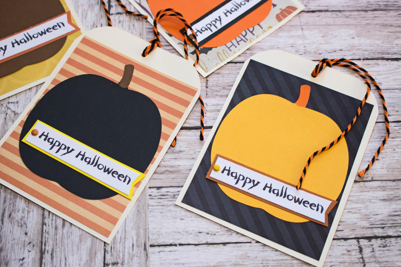 halloween pumpkin treat tags, large tag set, set of 4 hang tags