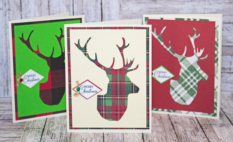 Set of 3 Christmas Stag Head Cards Deer Head Christmas image 0