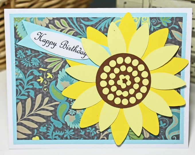 Handmade Sunflower Card, Birthday Greeting, Feminine Flower Card, Yellow Floral, Someone Special, Vibrant Colorful Design, Cheerful Colors
