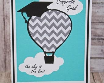 Customize for Any Year, The Sky is The Limit Graduation Card, Handmade Grad Congratulations, Hot Air Balloon, Graduation Cap, Congrats Grad