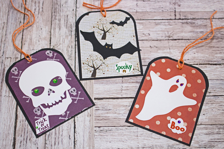 large halloween tag set, set of 3 hang tags, bat halloween party