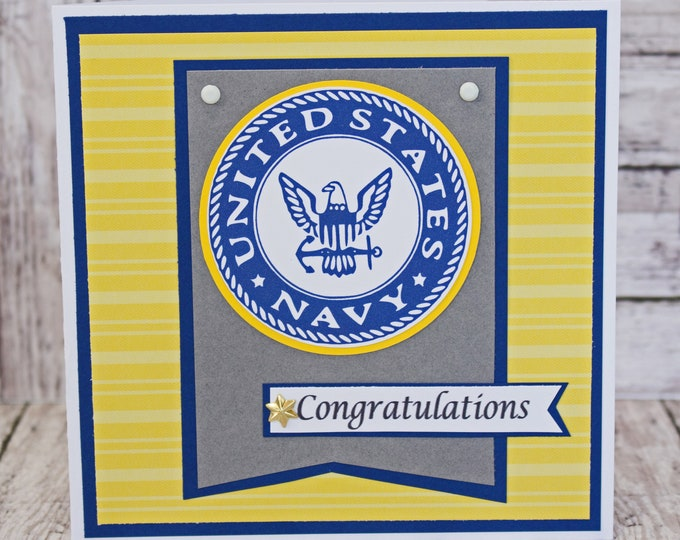 US Navy Card, Navy Retirement, Navy Promotion, Navy Graduation, Naval Academy, US Sailor, Congratulations, Congrats, Handmade Card, Anchor