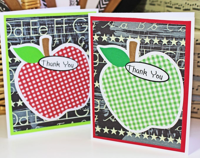 Set of 2, Teacher Thank You Cards, Apple Thank You Cards, Teacher Card, Handmade Card, Teacher Thank You, Teacher Apple Card, Note Card Set