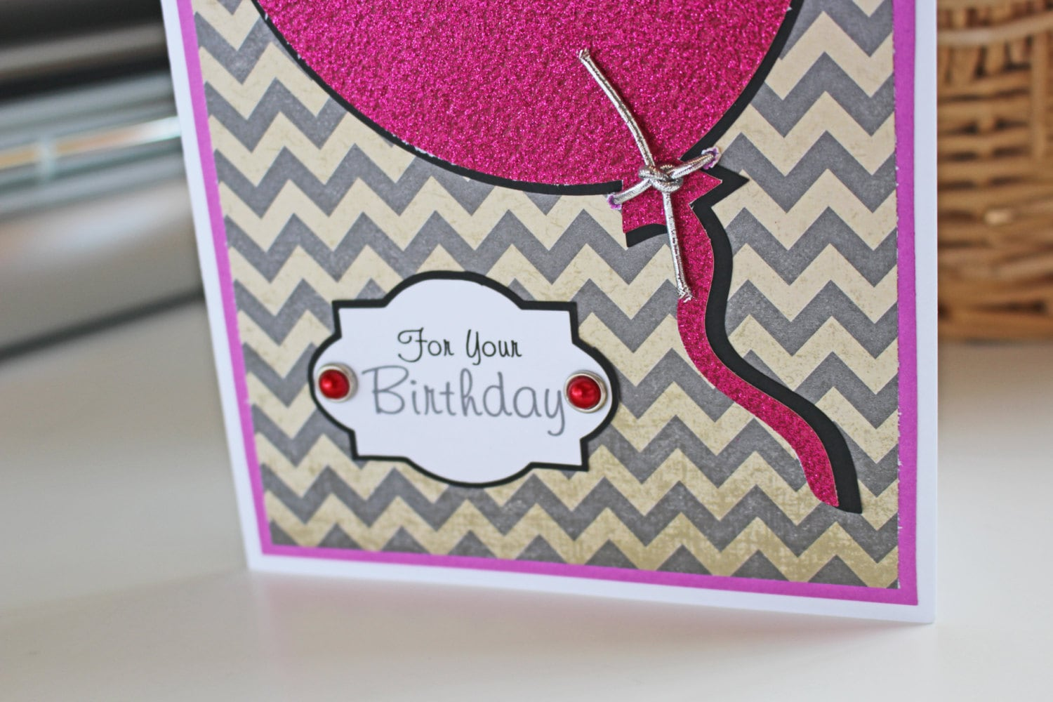 Balloon Birthday Card For Her Personalized Glitter Pink Chevron Ladies Female