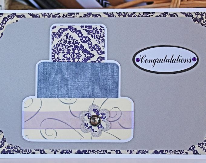 Purple Layered Wedding Cake Card - Wedding, Congratulations, Handmade, Card, Purple, Silver, Lavender, Bridal, Bride, Groom, Cake, Newlywed