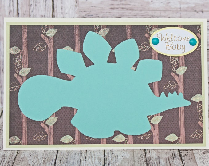Baby Boy Dinosaur Card, Handmade Greeting, Baby Boy Shower Gift, Newborn Baby, Male Dinosaur, Forest Trees Jungle Nature, Welcome Baby Card