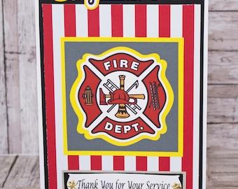 Firefighter Card, Handmade, Card, Retirement, Fireman, Promotion, Graduation, Firewoman, Congrats Card Thank You Card, Fire House, Fire Dept