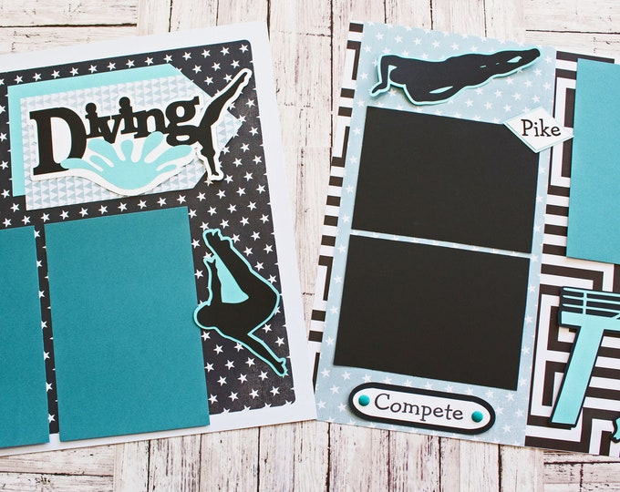 Pick Your Colors, Custom Made, Competitive Diving Scrapbook Page Set, Premade Diving Pages, Personalized, Team Mascot, High School Sports
