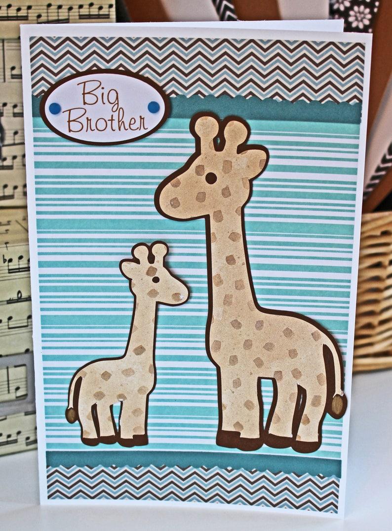 Big Brother Card Sibling Card Giraffe Card Baby Shower image 0