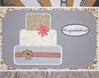 Rose, Gold, Layered Wedding Cake, Greeting Card, Wedding Cake Card, Handmade Card, Layered Cake Card, Wedding Card, Silver, Pink, Congrats