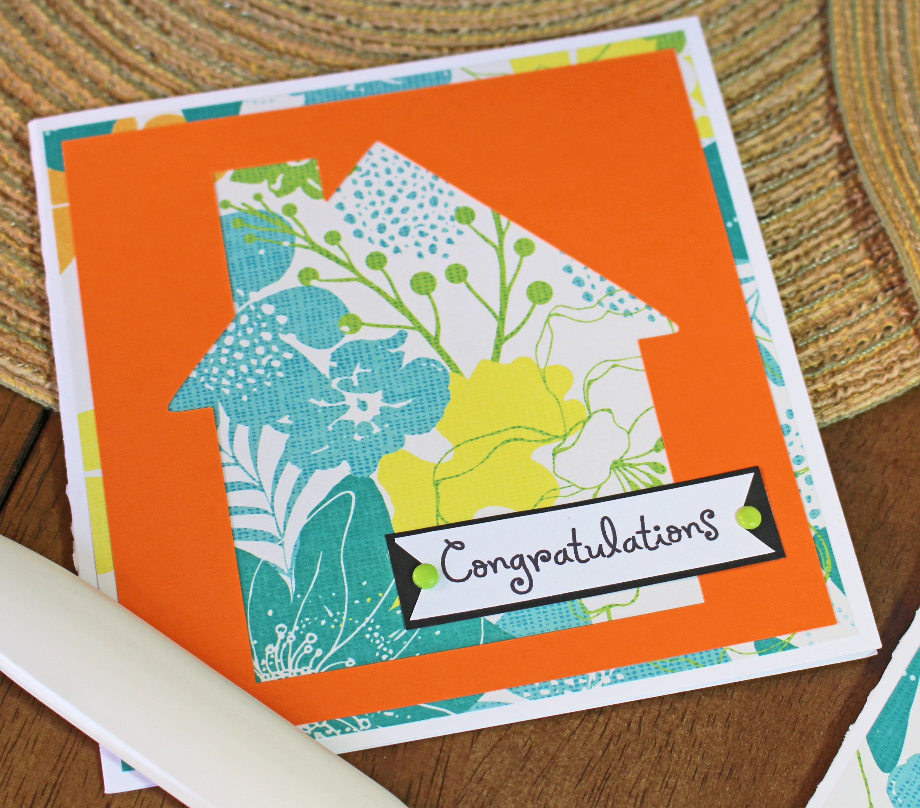 Modern House Warming Handmade Card Tropical House Floral Print